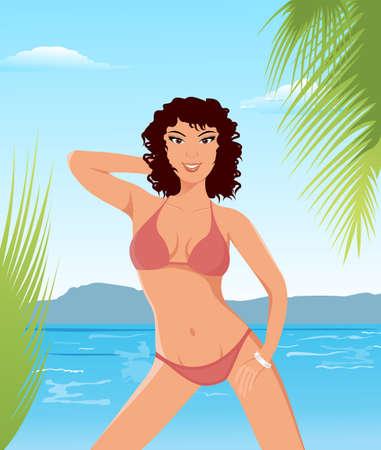 Illustration pretty brunette girl on beach - vector Stock Illustration - 9247412