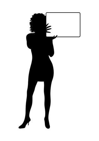 Illustration girl silhouette with banner isolated - vector Stock Illustration - 9247274