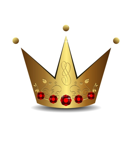 Realistic illustration of royal gold crown isolated on white background - vector Stock Illustration - 9247329