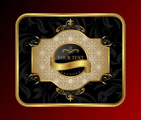 Illustration ornate decorative golden frame - vector illustration