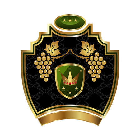 Illustration gold label with grapevine with crown - vector illustration