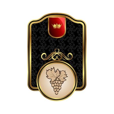 Illustration golden label for packing wine - vector Stock Illustration - 9247416