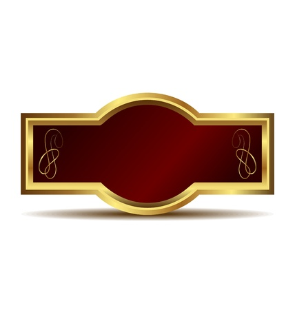 card catalogue: Illustration of red velvet in a gold frame label isolated on white background - vector