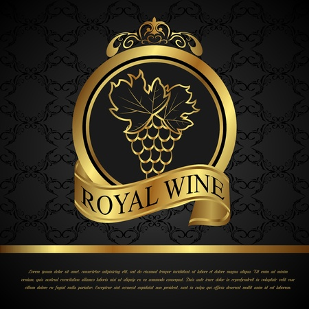 catalog: Illustration golden label for packing wine - vector