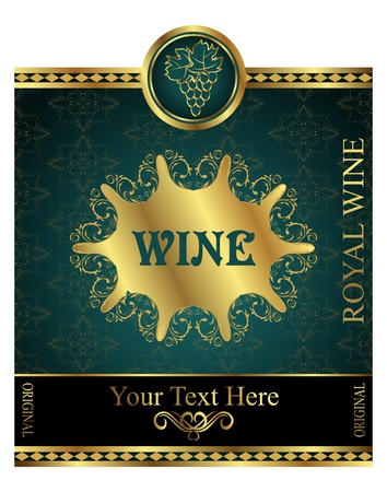 Illustration golden label for packing wine - vector illustration