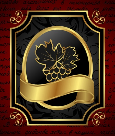 Illustration golden frame label for packing wine - vector Stock Illustration - 9247437