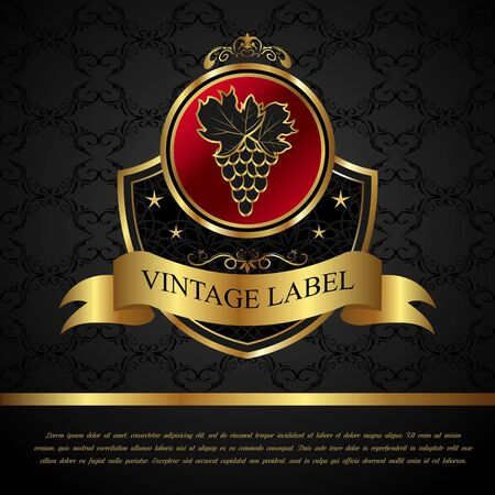 Illustration golden label for packing wine - vector Stock Illustration - 9247438