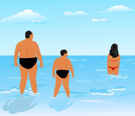 flabby: Illustration two thick men (father and son) look at beauty girl - vector