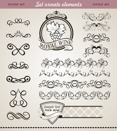Illustration set floral ornate design elements (4) - vector Stock Illustration - 9247443