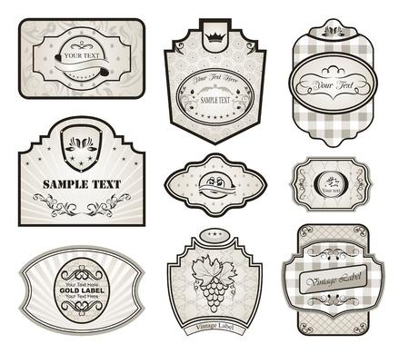 Illustration set retro variation vintage labels (4) - vector illustration