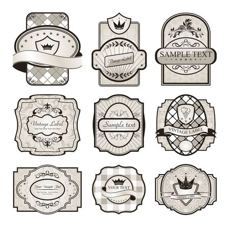 schoolbook: Illustration set retro variation vintage labels (6) - vector