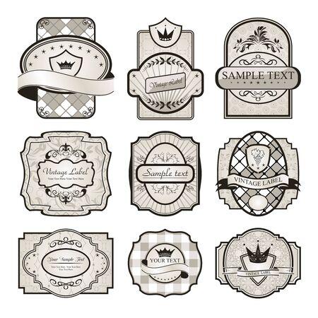 Illustration set retro variation vintage labels (6) - vector