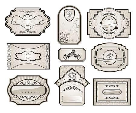 Illustration set retro variation vintage labels (7)  - vector illustration