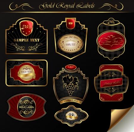 Illustration set black gold-framed labels - vector Stock Photo