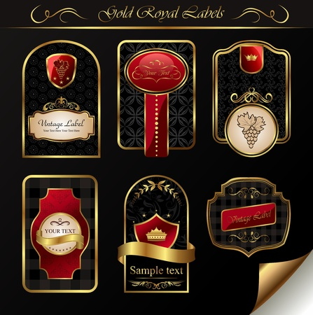 nobile: Illustrazione set black gold-incorniciato etichette - vector