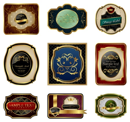 aristocratic: Illustration set of decorative color gold frames labels - vector
