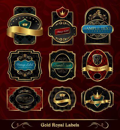 Illustration set black gold-framed labels - vector Stock Illustration - 9247459