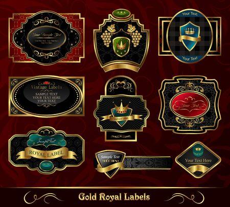Illustration set colorful gold-framed labels - vector