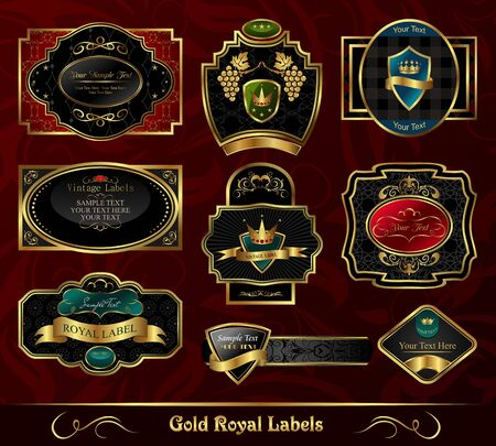 nobility: Illustration set colorful gold-framed labels - vector