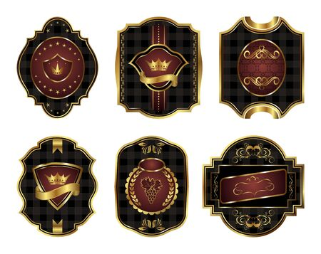 Illustration set black gold-framed labels with squares mosaic texture - vector Stock Illustration - 9247433