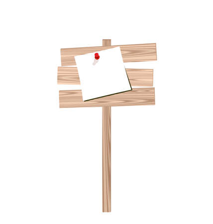 Illustration of wood billboard with attached blank paper isolated on white background - vector illustration