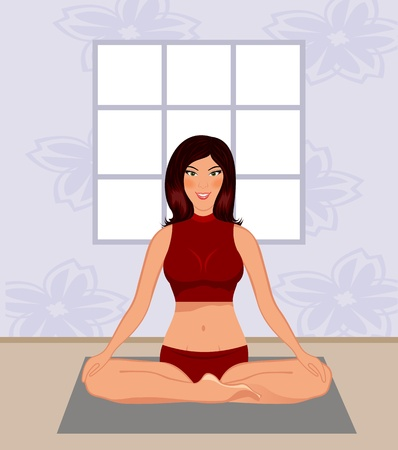 Illustration young woman yoga in gym - vector illustration