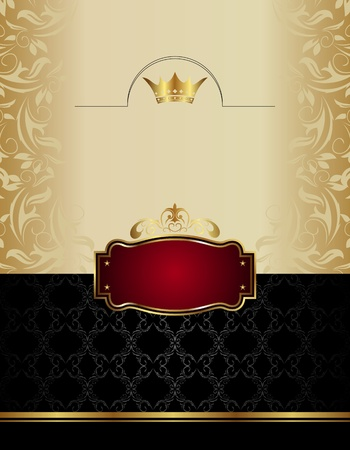 food label: Illustration luxury gold wine label with emblem  - vector
