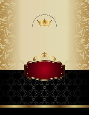 Illustration luxury gold wine label with emblem - vector