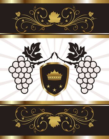 Illustration golden background with grapevine - vector Vector