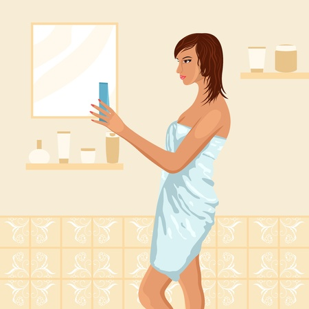 Illustration of pretty women in bathroom - vector Stock Vector - 9488048