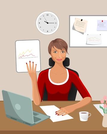 Illustration business women with documents in office - vector Ilustração