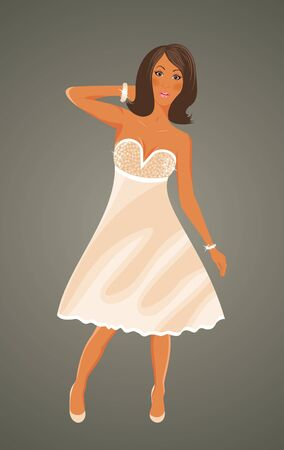 Illustration pretty girl in white dress - vector Vector