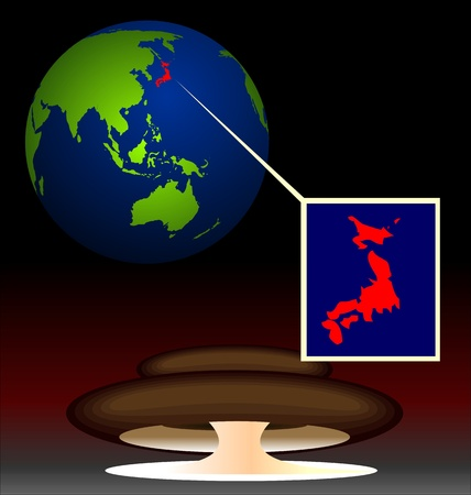 Illustration of global radioactive biohazard after damage on nuclear station in Japan - vector Vector
