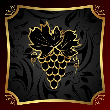 aristocratically: Illustration golden label for packing wine - vector