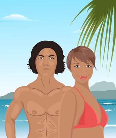 Illustration sexy girl and man on beach - vector Vector