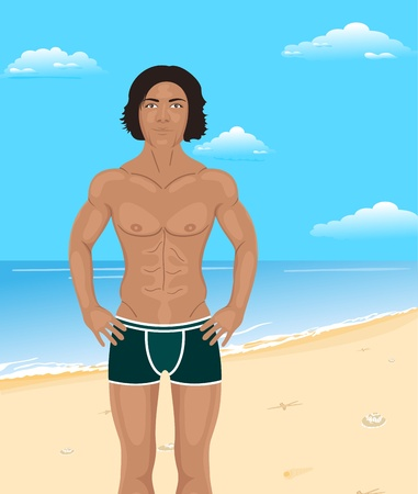 sexy gay: Illustration brawny man on beach - vector Illustration