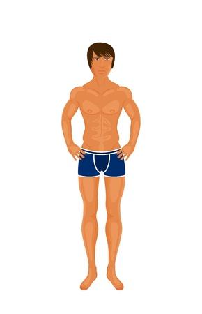 Geïsoleerder illustratie sexy spier geïsoleerde kerel - vector