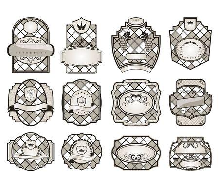 Illustration set retro variation vintage labels (12) - vector