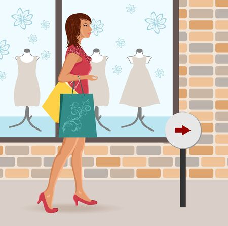Illustration modern girl loaded with shopping bags - vector Vector