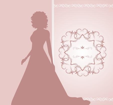 Illustration wedding invitation or card with girl bride - vector Vector