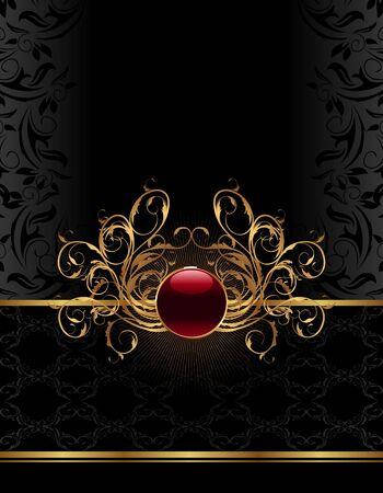Illustration golden ornate frame for design - vector Illustration