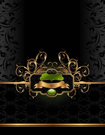 Illustration golden luxury background with label - vector