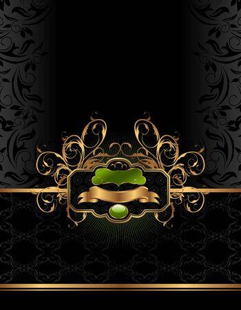 Ilustracja złotym luxury tła z etykietą - wektorowe Ilustracja