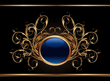 shiny black: Illustration golden ornate background for design - vector