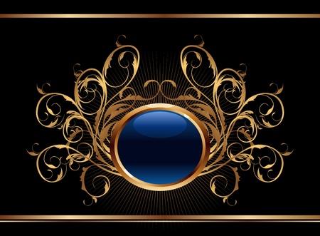 Illustration golden ornate background for design - vector