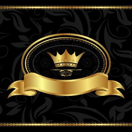 Illustration royal background with golden frame - vector