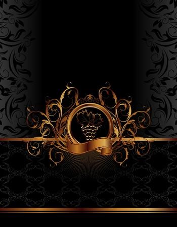 nobile: Illustrazione etichetta d'oro per il confezionamento del vino - vettore Vettoriali