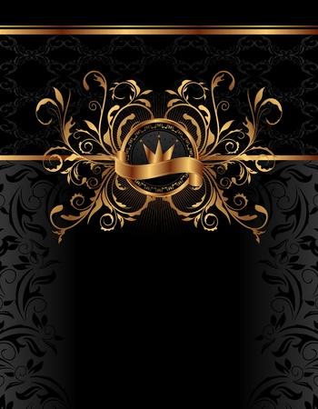 couronne royale: Arri�re-plan royal illustration avec cadre dor� - vecteur