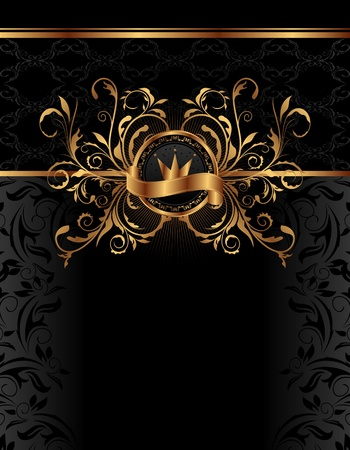 royal: Illustration royal background with golden frame - vector
