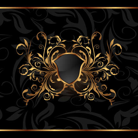 Illustration golden ornate frame with shield - vector